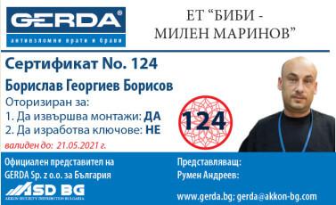 Сертификат Борислав Борисов