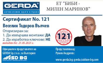 Сертификат Веселин Тодоров